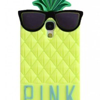 BYG Yellow 3D lovely Fruit Ananas Style Soft Case Protective Cover For Samsung Galaxy S4 I9500 + Gift 1pcs Phone Radiation Protection Sticker