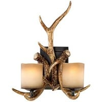 "Faux Deer Antlers Candle Glass 17 1/2"" High 2-Light Sconce - #R0878 