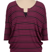 elbow sleeve striped dolman tee
