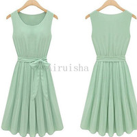 2013 western new style sleeveless light green round neckline sash knee length summer dress(no inbuilt bra)