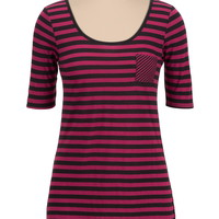high-low mixed stripe tee with pocket