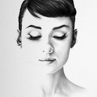 Audrey Hepburn Pencil Drawing Portrait Fine Art SIgned Print