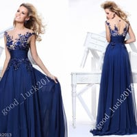 Fashion Chiffon Applique Beading Long Prom Dress Formal Gowns Evening Dresses