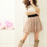 Fashion Sweet Lovely Pretty Flower Chiffon Dress Light Yellow