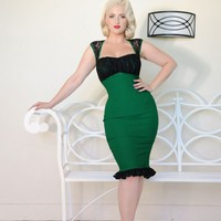 Micheline Dress in Green Bengaline with Black Lace