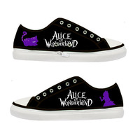 Alice in Wonderland Cheshire Cat Tim Burton Women Canvas Shoes - Sizes: US 5 6 7 8 9 - EUR 36 37 38 39 40