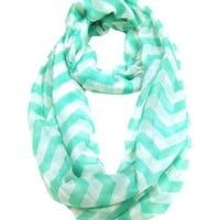 Modadorn Accessories Nautical Lightweight Chevron Infinity Mint Scarf
