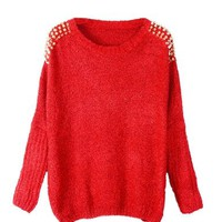 PrettyGuide Women Embellished Spiked Studs Chain Jumper Sweater Tops