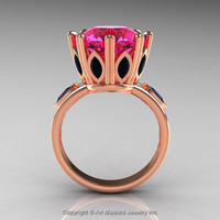 Classic 14K Rose Gold 5.0 Ct Pink Sapphire Marquise Black Diamond Solitaire Ring R160-14KRGBDPS
