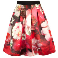 MONNY - Rose on canvas print skirt - Bright Pink | Womens | Ted Baker UK