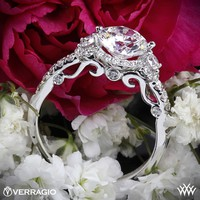 18k White Gold Verragio Double French-Set Halo 3 Stone Engagement Ring