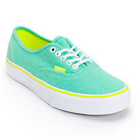 Vans Girls Authentic Aqua Green & Yellow Washed Twill Shoe