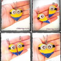 Minion heart charm chibi necklace in polymer clay - BBF - friendship - best friends forever - Valentine's day