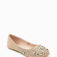 Bling Fx suede Stone Round Toe Flat