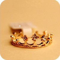 Princess of Hearts Crown Gold Ring