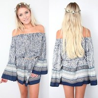 BOHO BOHEMIAN OFF THE SHOULDERS VINTAGE PRINTS KAFTAN BELL SLV DRESS 8 10 12 14