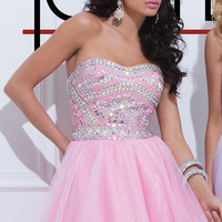 Short Strapless Tony Bowls Prom Dress