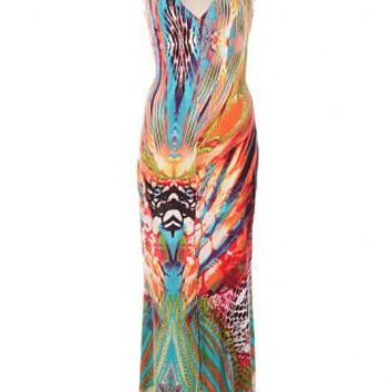 Multi Color Printed Open Back Sleeveless Maxi Dress