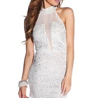 White Mesh Glitz and Glitter Turtleneck Dress