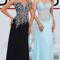 Long Prom Dress with Corset Bodice