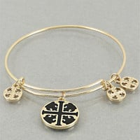Tory Burch Inspired Gold and Black Bangle Bracelet