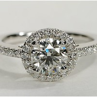 Diamond Halo Engagement Ring in 14k White Gold | Blue Nile