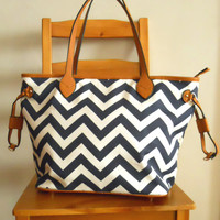 Chevron Market Tote in Navy [4943] - $43.00 : Vintage Inspired Clothing & Affordable Dresses, deloom | Modern. Vintage. Crafted.